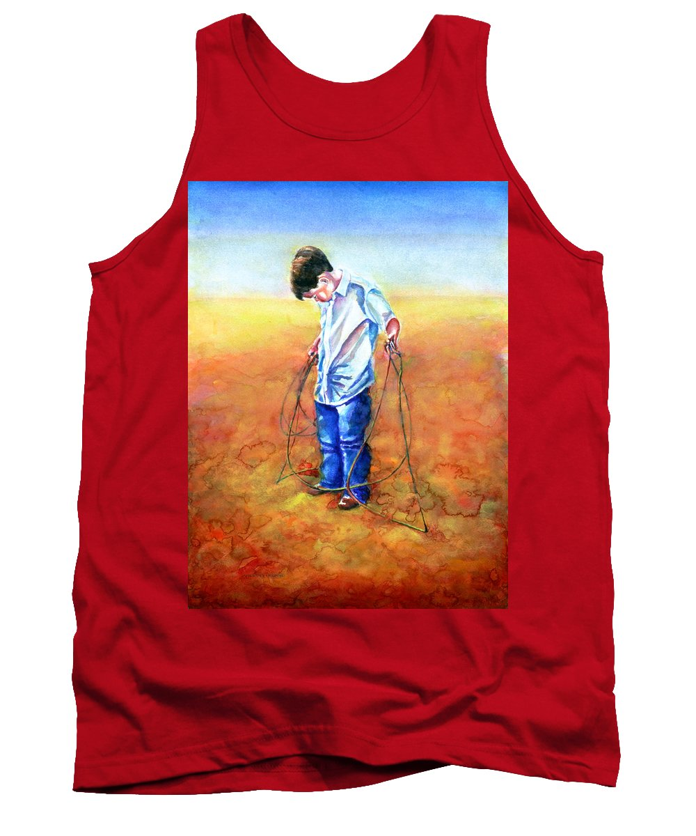 Child Tank Top featuring the painting The Roping Lesson by Shannon Grissom