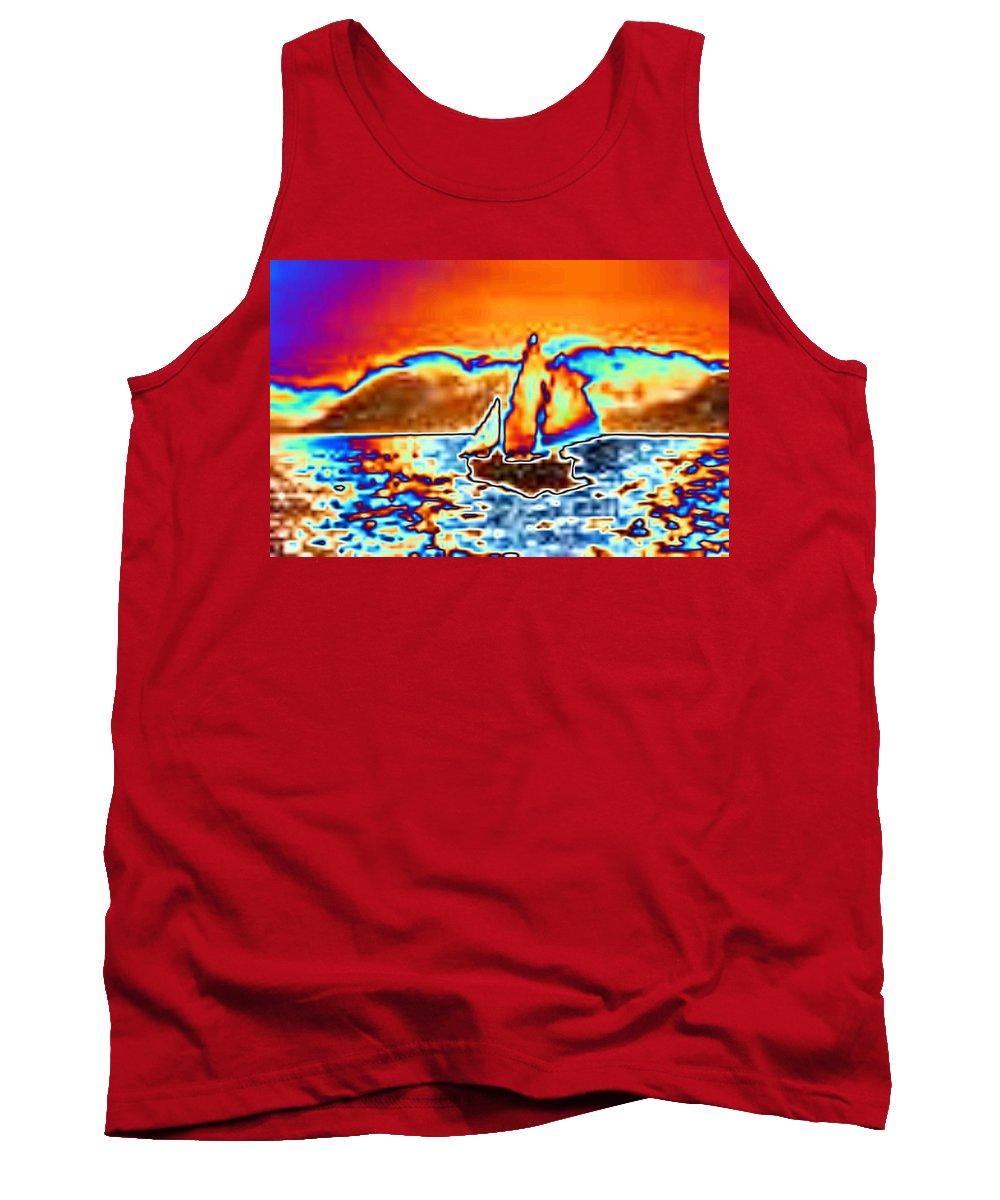 Sail Tank Top featuring the digital art The Sail by Tim Allen