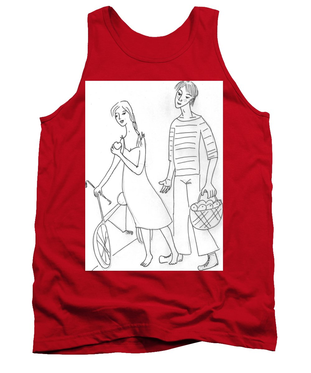 Tank Top featuring the drawing The Sailor. by Yulia Shuster