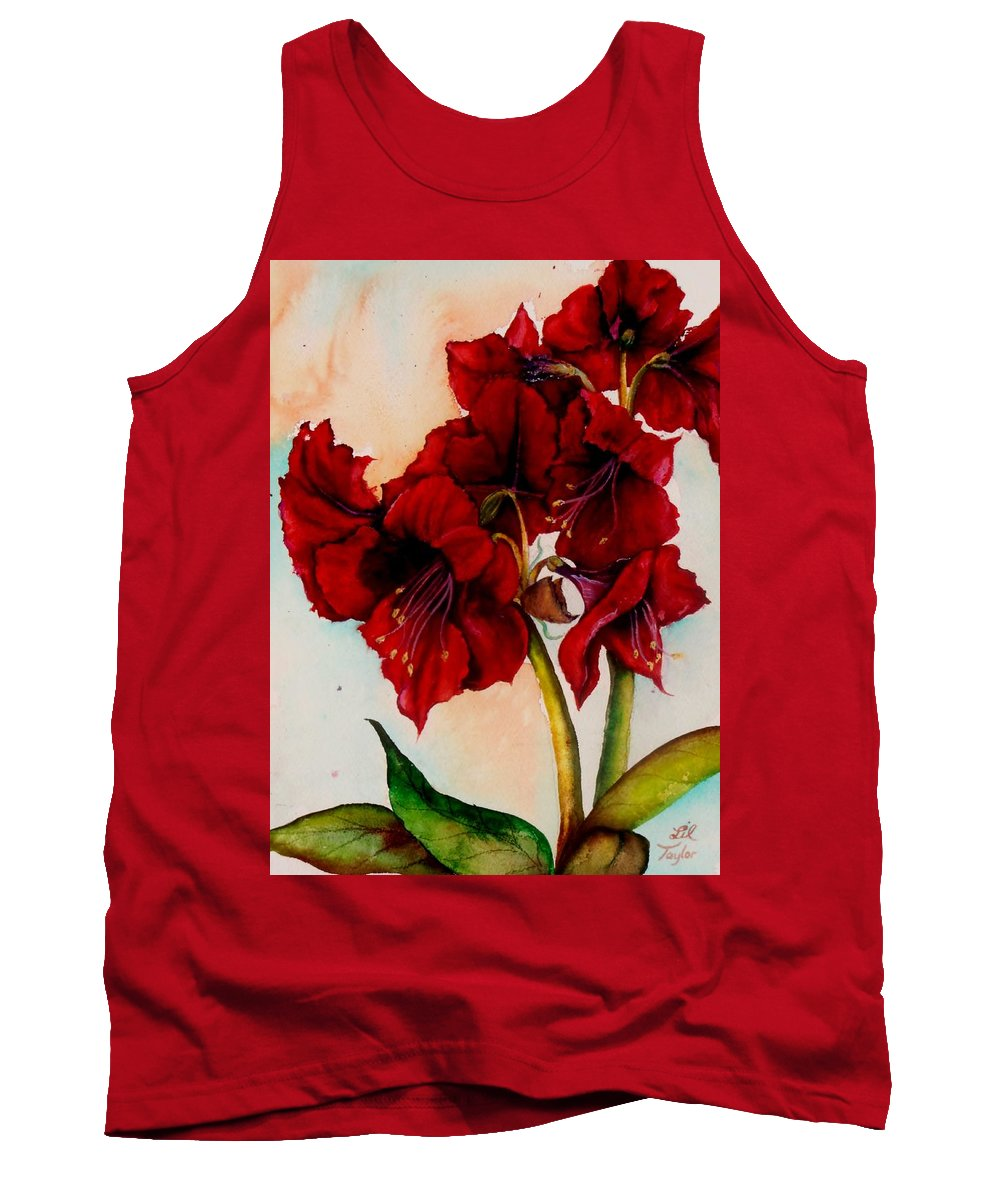 Amaryllis Tank Top featuring the painting The Gift by Lil Taylor