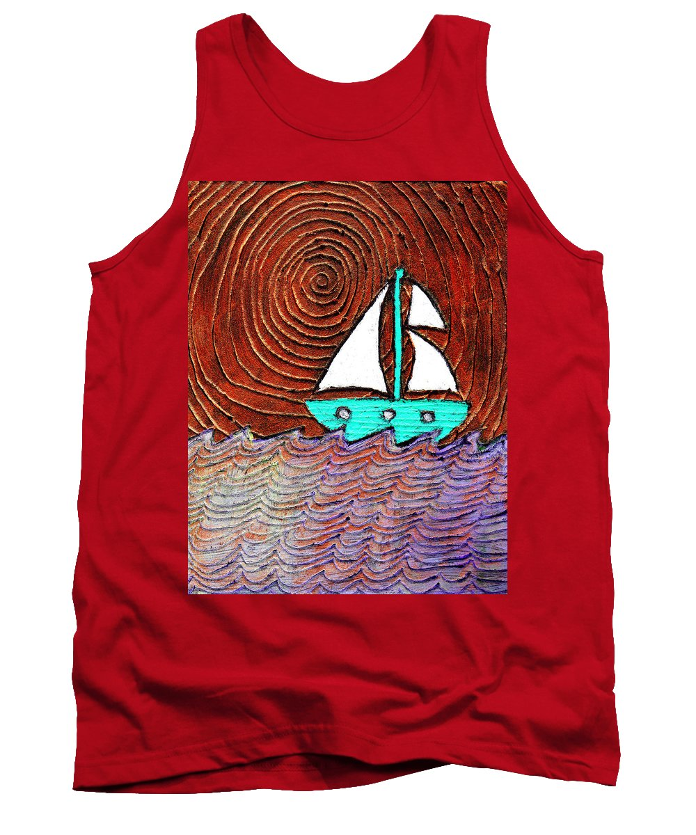 Sailing Tank Top featuring the painting The Sky Was Bronze That Night by Wayne Potrafka
