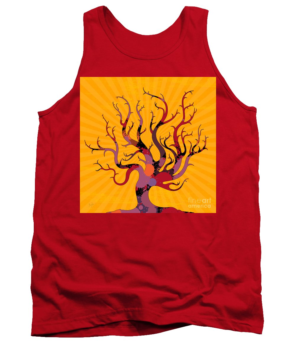 Tree Tank Top featuring the digital art The Spotted Tree by Peter Awax