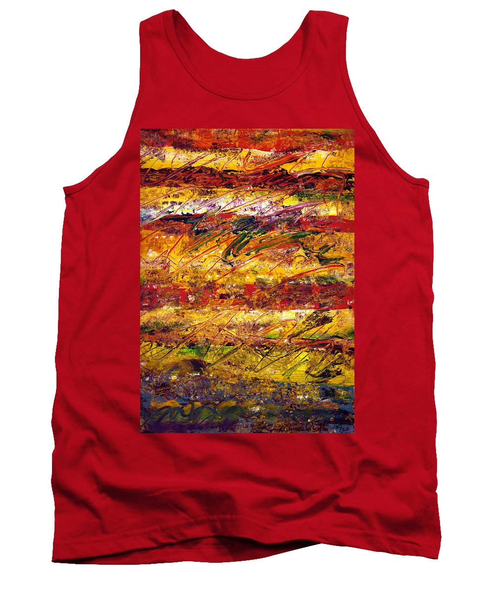 Abstract Tank Top featuring the painting The Sun Rose One Step At A Time by Wayne Potrafka
