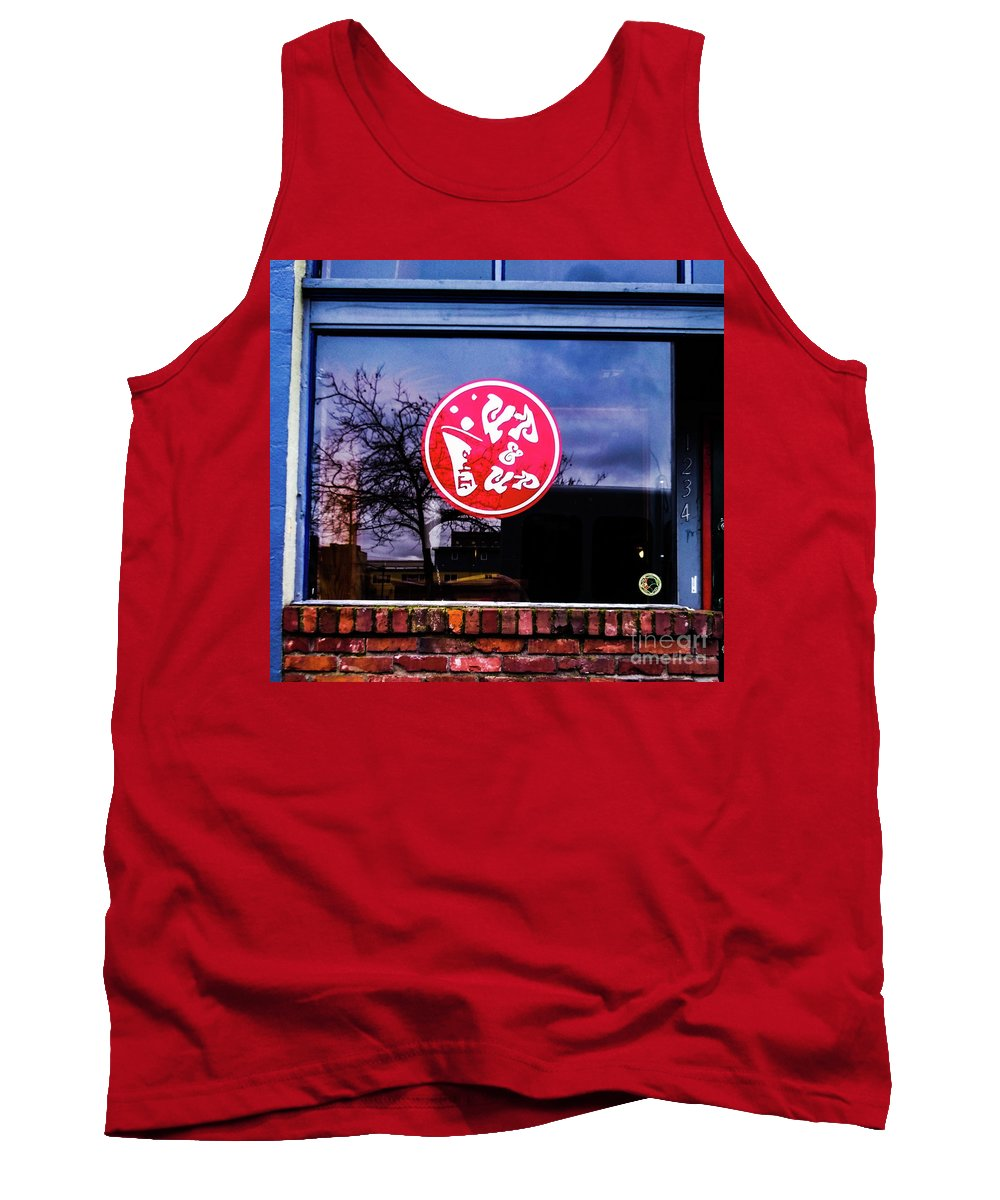 Signs Blue Red Street Sign Tank Top featuring the photograph The Up And Up by Loretta Bueno