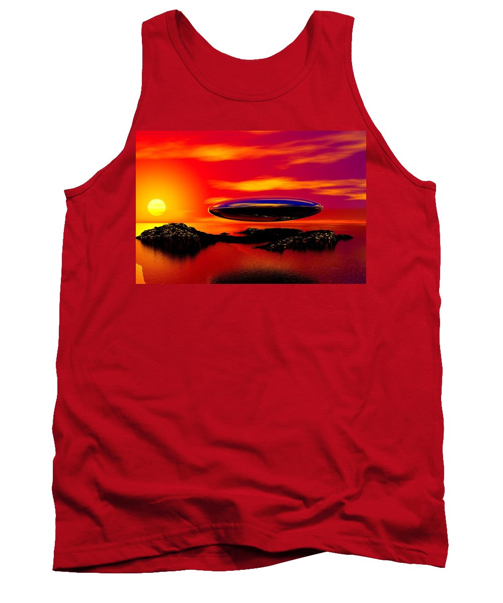 T Tank Top featuring the digital art The Visitor by David Lane