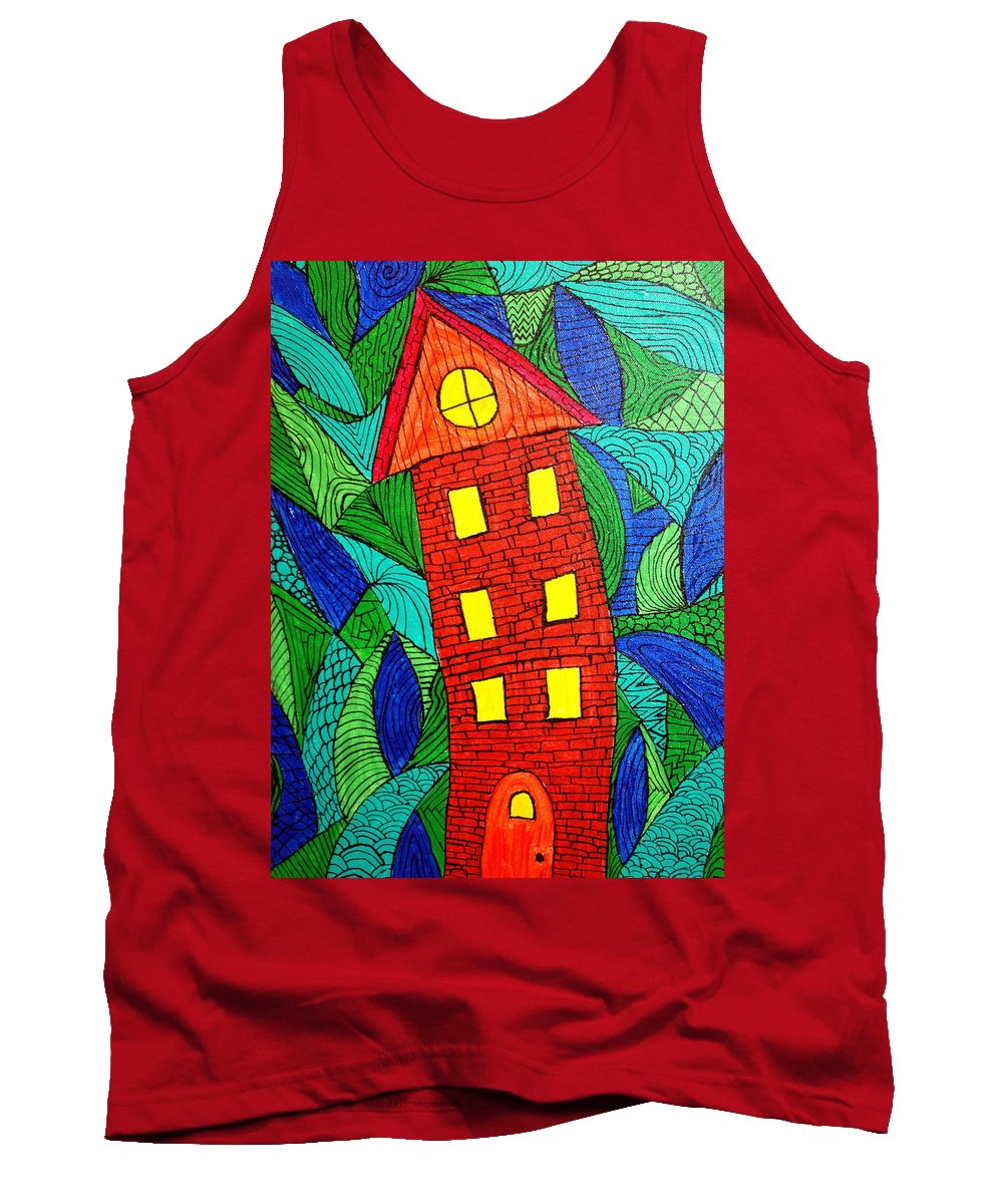Geometric Patterns Tank Top featuring the painting There Was A Crooked House by Wayne Potrafka