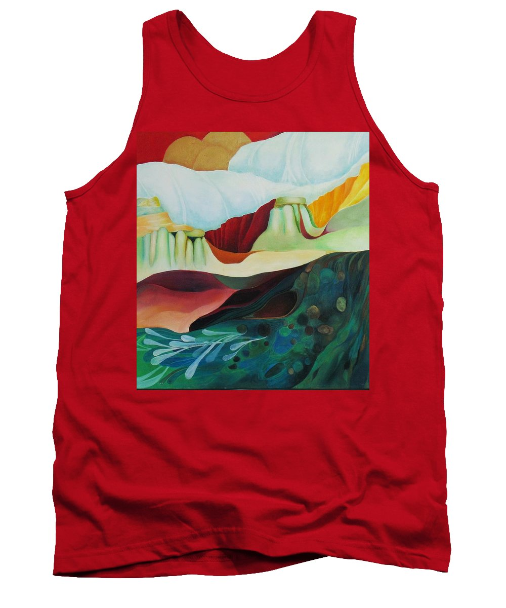 Landscape Tank Top featuring the painting Three Moons by Peggy Guichu