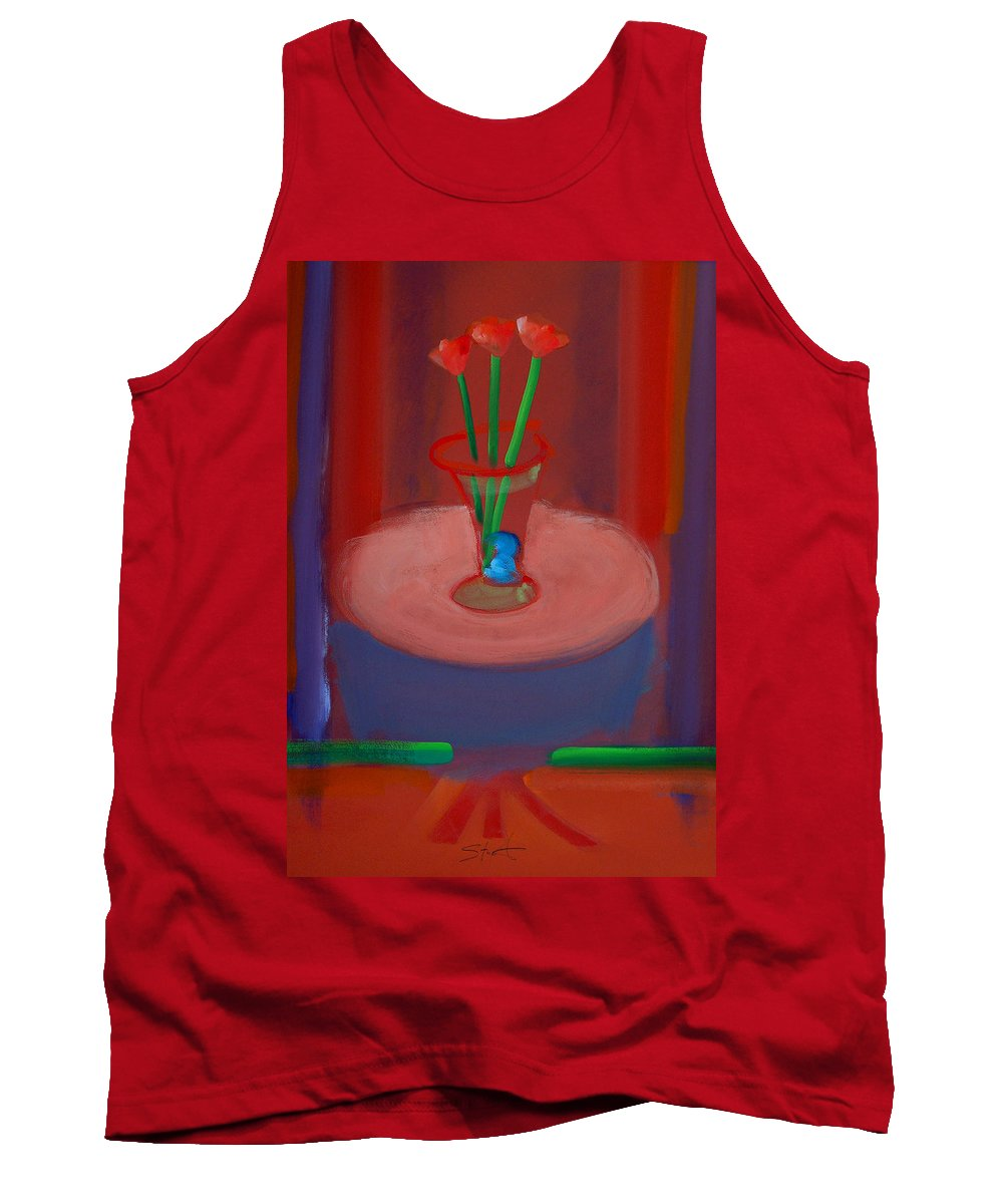 Poppies Tank Top featuring the painting Three Poppies In A Vase by Charles Stuart