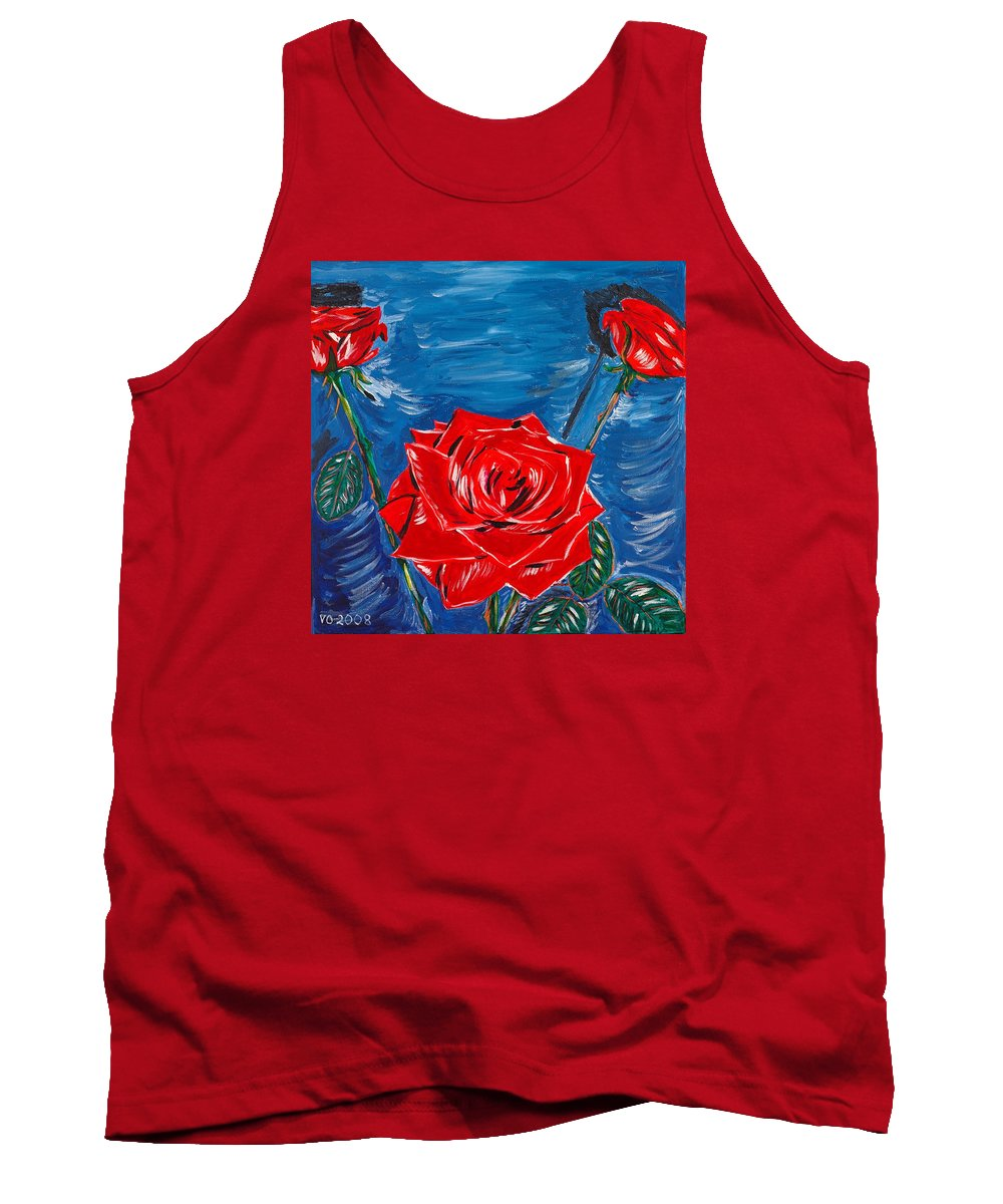 Rose Tank Top featuring the painting Three Red Roses Four Leaves by Valerie Ornstein