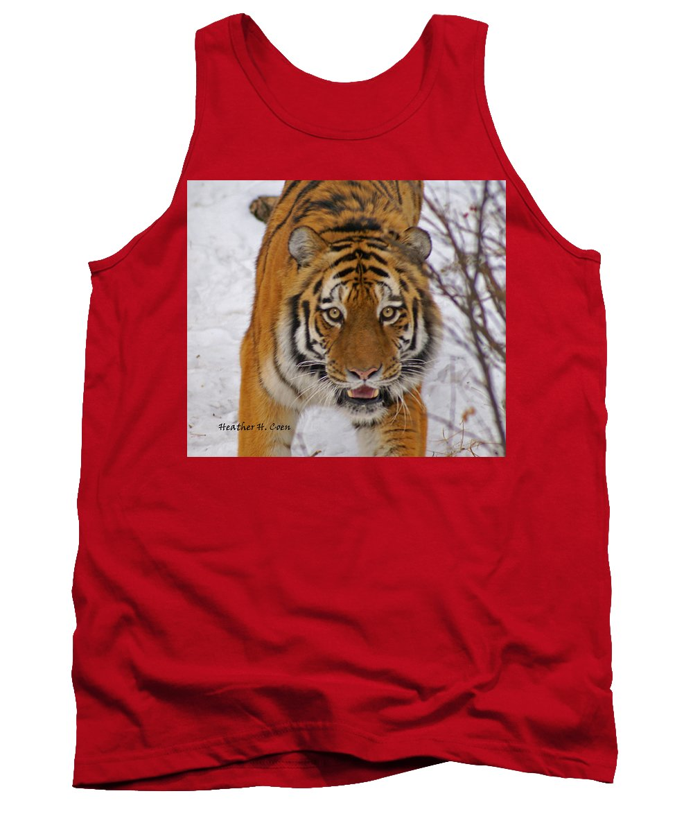 Tiger Tank Top featuring the photograph Tiger by Heather Coen