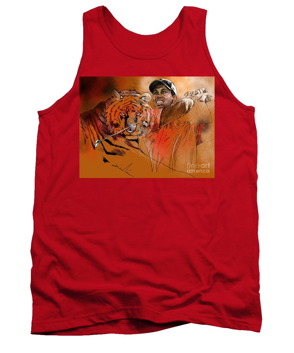 Golf Art Painting Portrait Tiger Woods Aninla Tiger Tank Top featuring the painting Tiger Woods Or Earn Your Stripes by Miki De Goodaboom