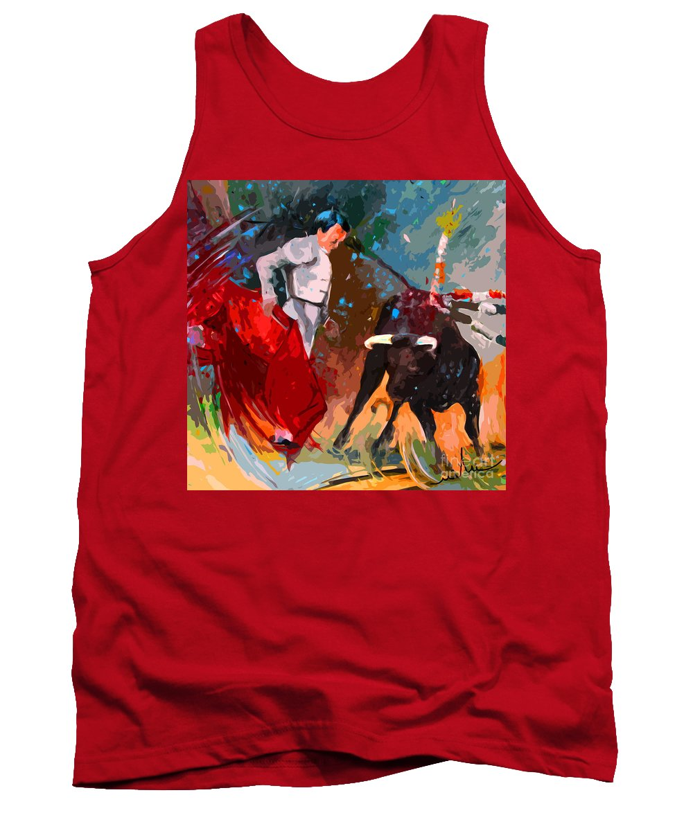 Bullfight Tank Top featuring the painting Toroscape 05 by Miki De Goodaboom