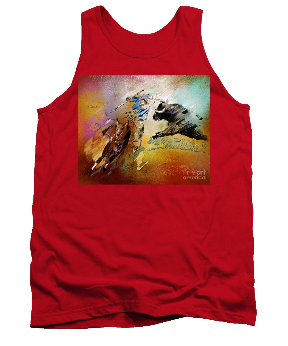 Bullfight Tank Top featuring the painting Toroscape 42 by Miki De Goodaboom