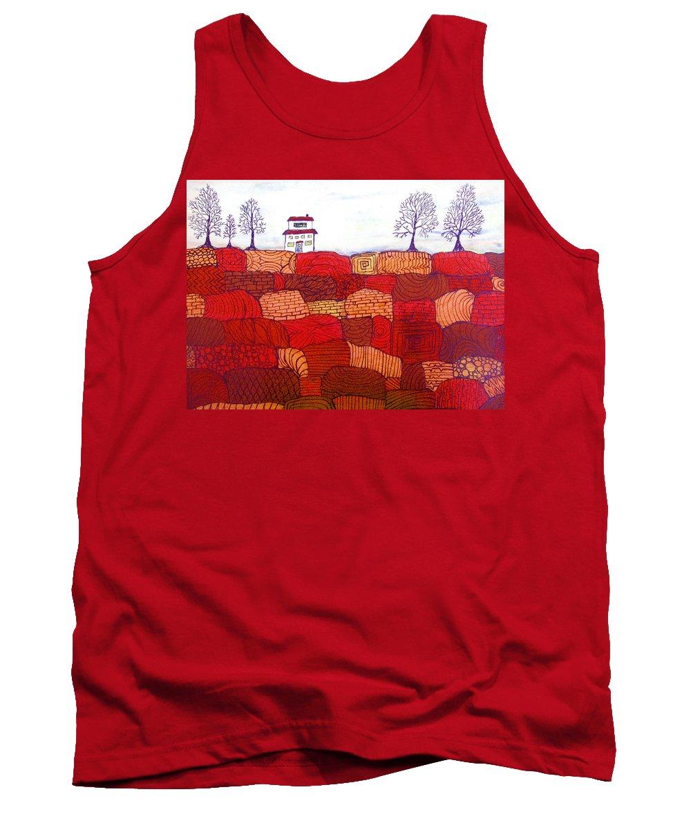 Farm Tank Top featuring the painting Tree Farm by Wayne Potrafka