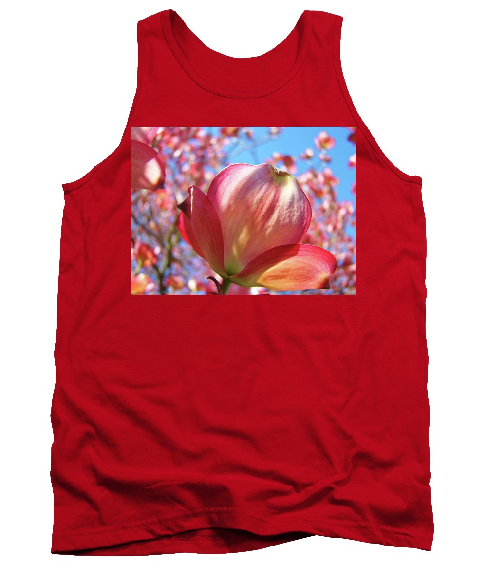 Dogwood Tank Top featuring the photograph Tree Flowers Pink Dogwood Flowers 5 Dogwood Trees Art Blue Sky Baslee Troutman by Baslee Troutman
