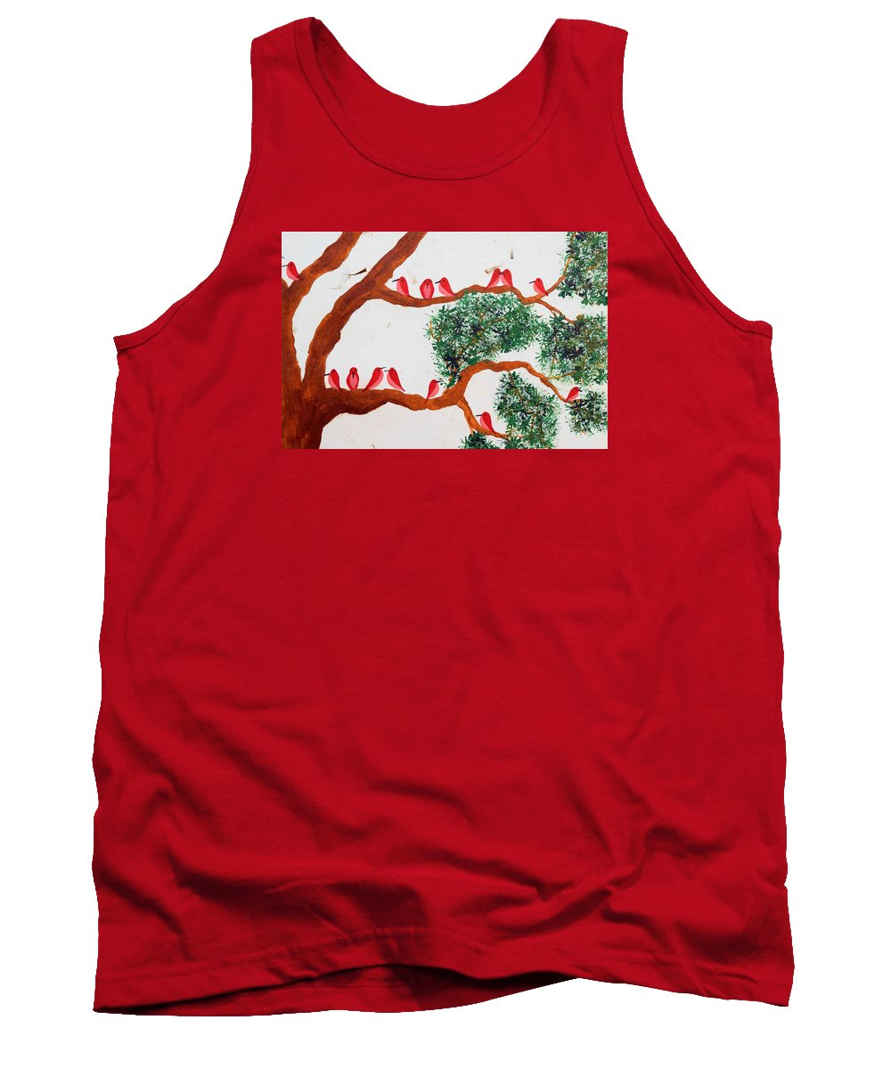 Trees And Birds Tank Top featuring the painting Trees And Red Birds 1 by Sumit Mehndiratta