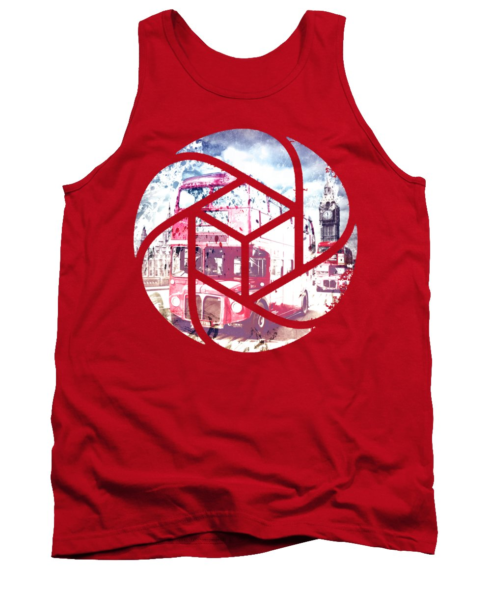 British Tank Top featuring the photograph Trendy Design London Red Buses by Melanie Viola
