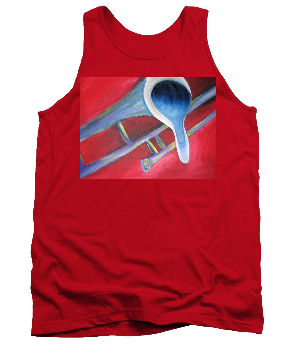 Oil On Canvas Tank Top featuring the painting Trombone by Michael Mooney