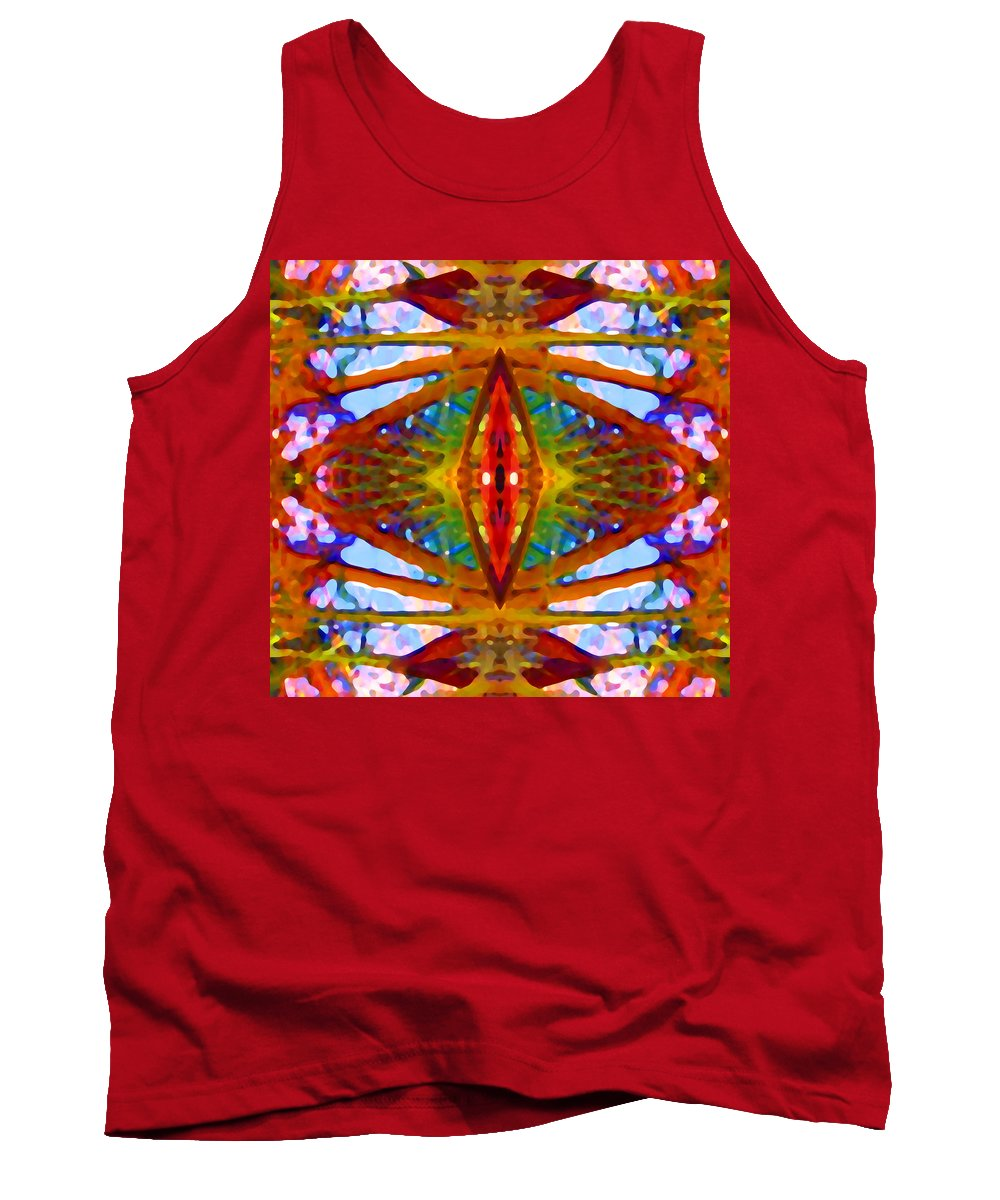Abstract Tank Top featuring the painting Tropical Stained Glass by Amy Vangsgard