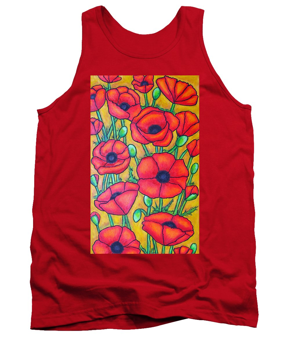 Poppies Tank Top featuring the painting Tuscan Poppies - Crop 1 by Lisa Lorenz
