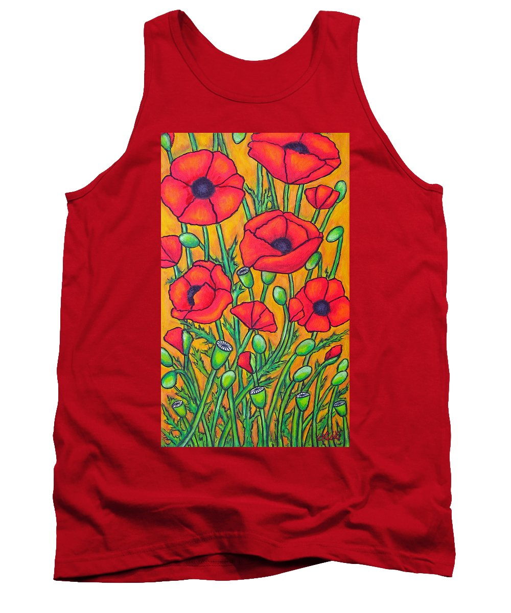 Poppies Tank Top featuring the painting Tuscan Poppies - Crop 2 by Lisa Lorenz