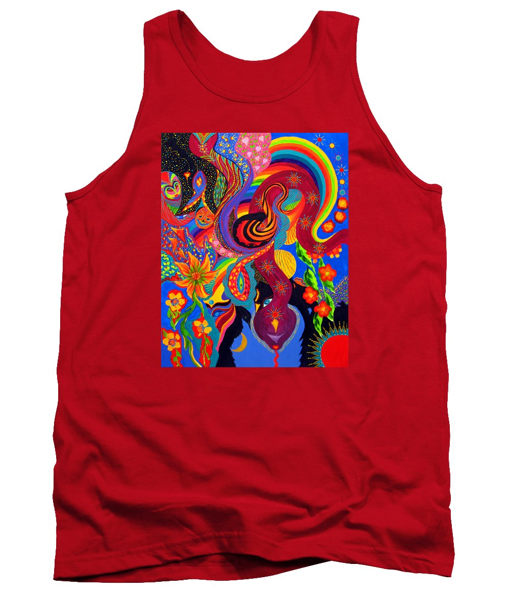 Abstract Tank Top featuring the painting Serpent Descending by Marina Petro