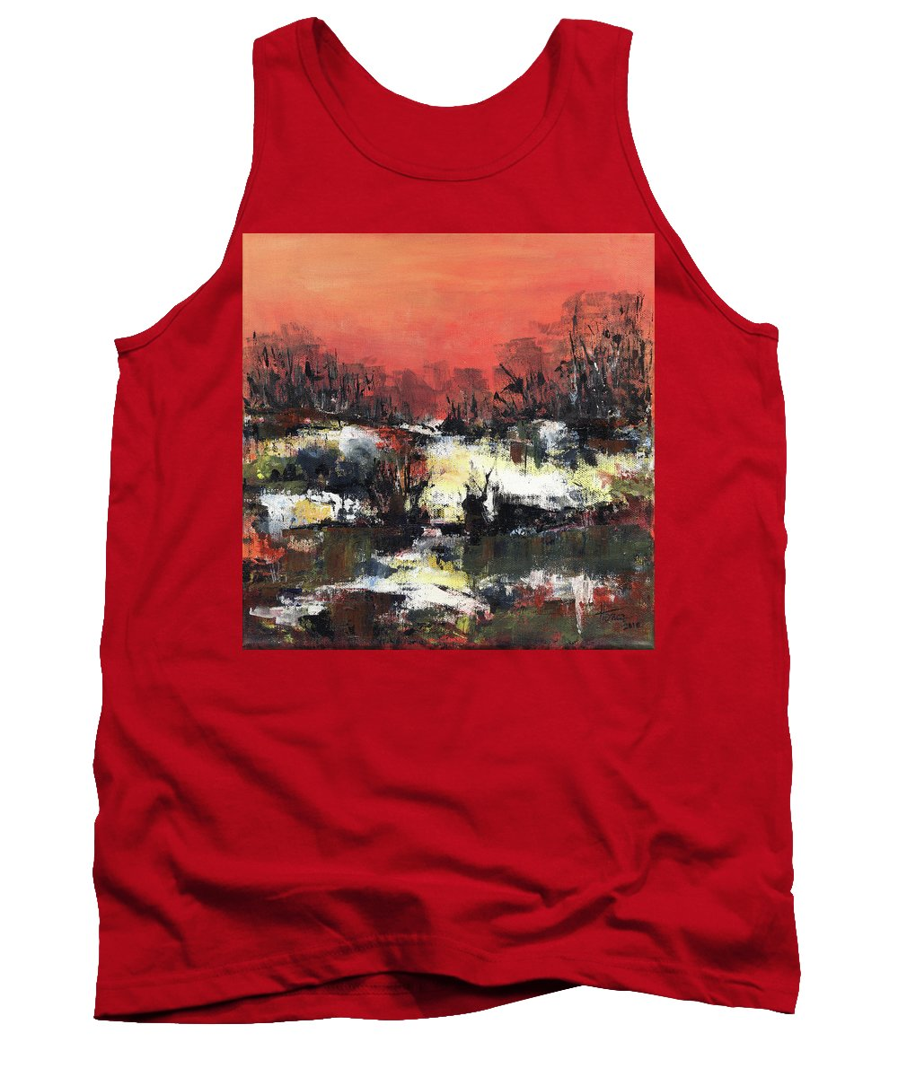Abstract Tank Top featuring the painting Twilight Madness by Aniko Hencz