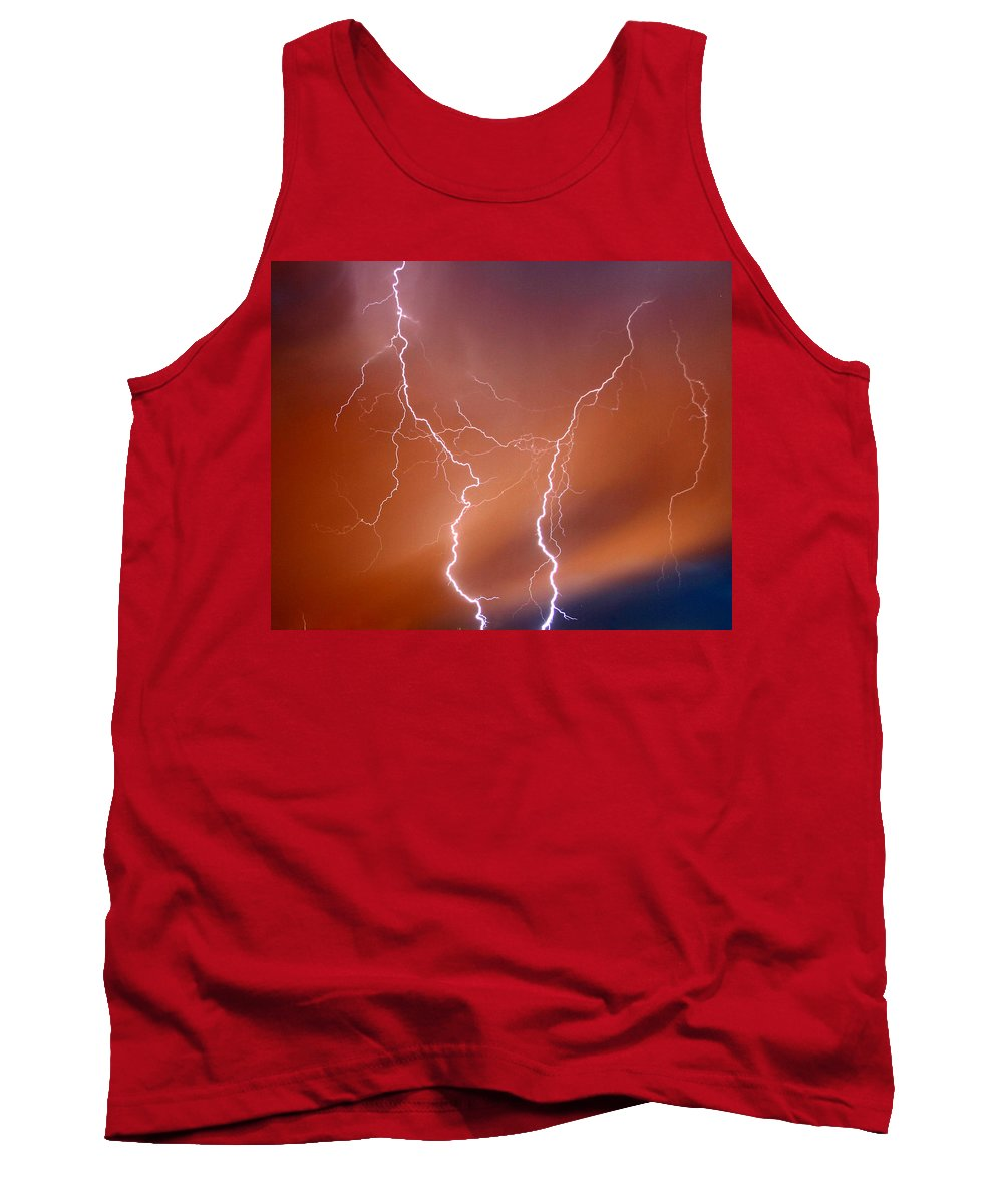 Lightning Tank Top featuring the photograph Twin Strike by Anthony Jones