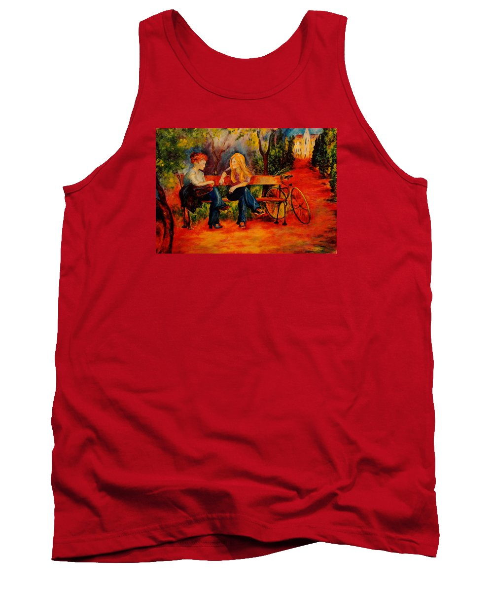 Two Girls Tank Top featuring the painting Two Girls With A Byke by Dagmar Helbig