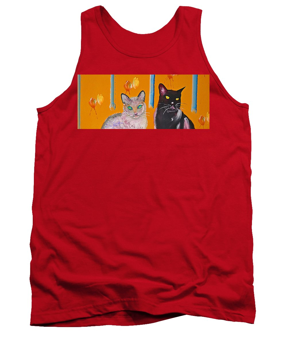 Cat Tank Top featuring the painting Two Superior Cats With Wild Wallpaper by Charles Stuart