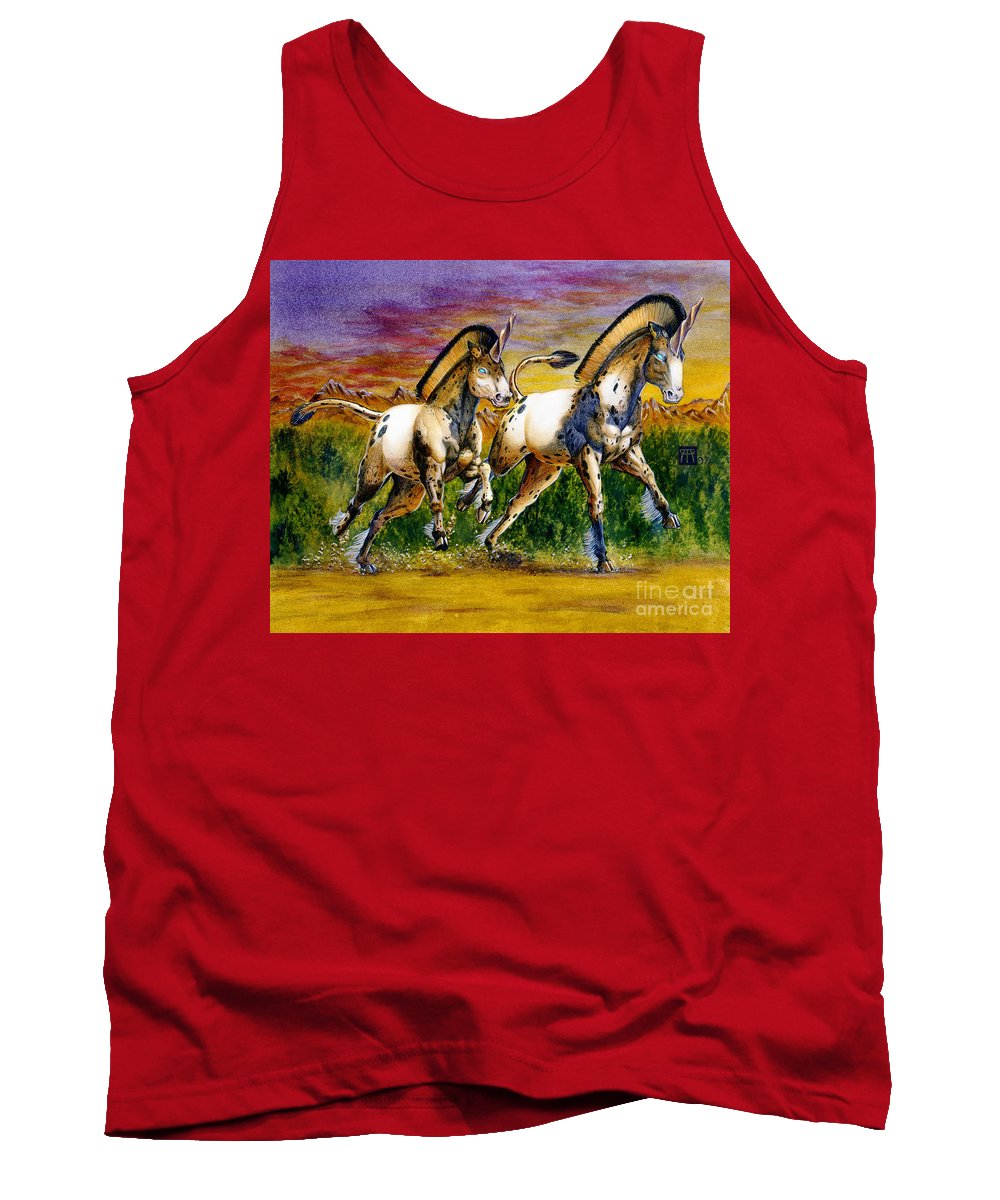 Artwork Tank Top featuring the painting Unicorns In Sunset by Melissa A Benson