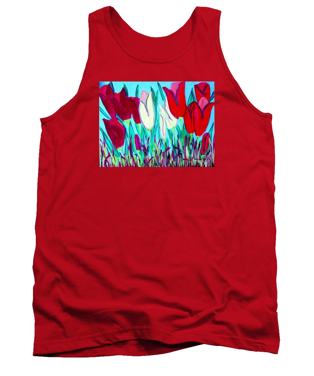 Tulips Tank Top featuring the painting Velvet Tulips by Laurie Morgan
