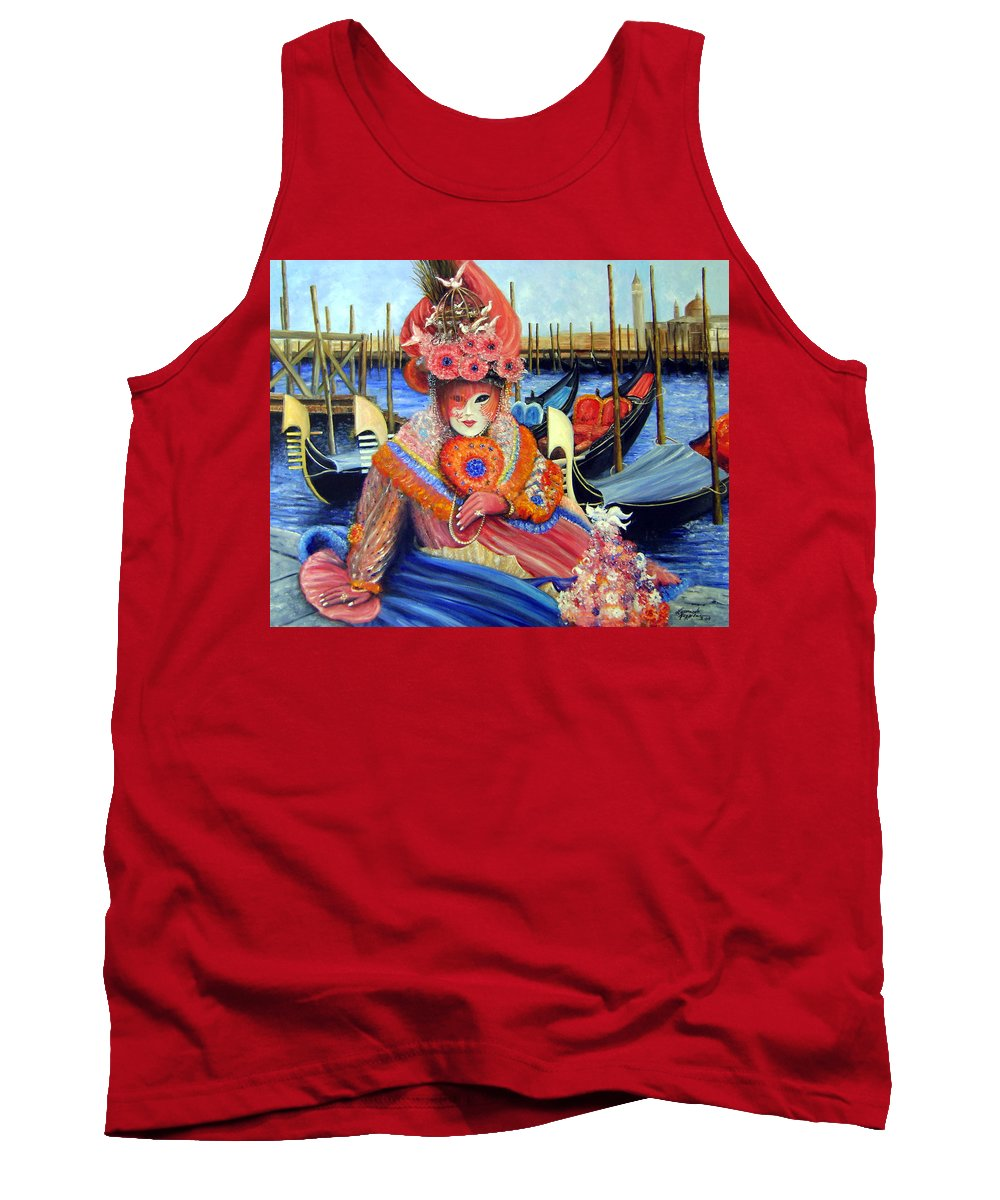 Venice Tank Top featuring the painting Venetian Carneval Mask With Bird Cage by Leonardo Ruggieri