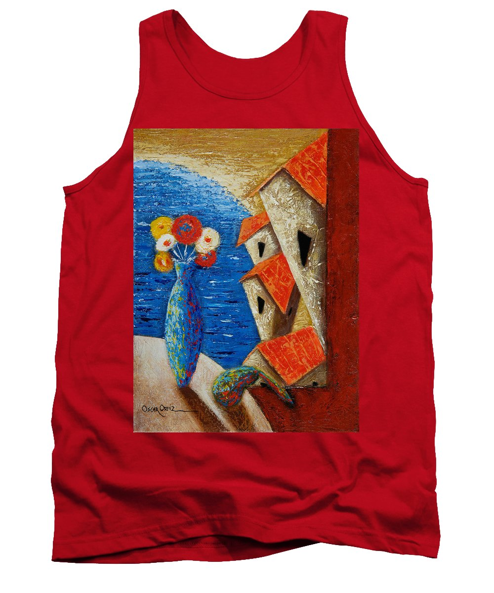 Landscape Tank Top featuring the painting Ventana Al Mar by Oscar Ortiz