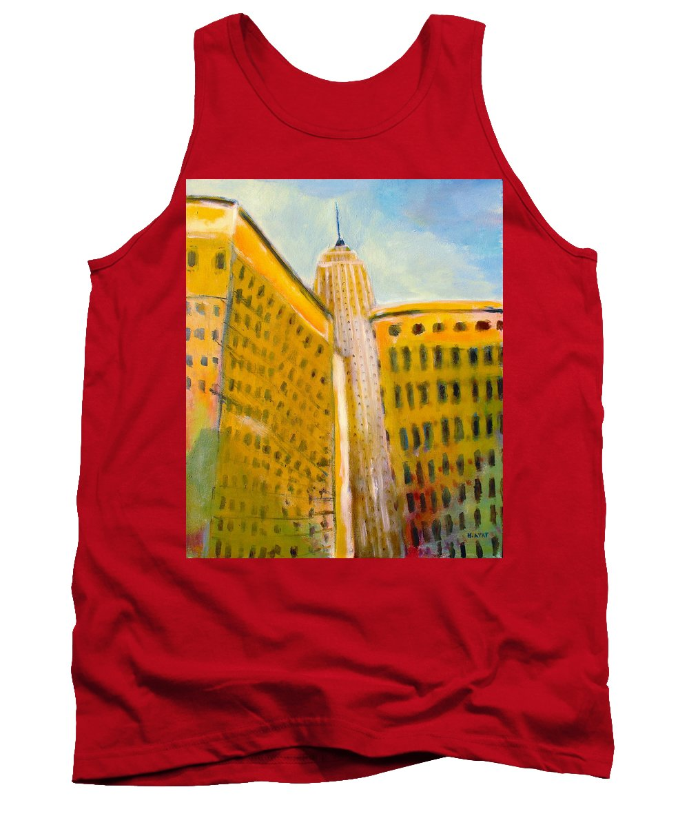 Abstract Cityscape Tank Top featuring the painting View From The 33 St by Habib Ayat
