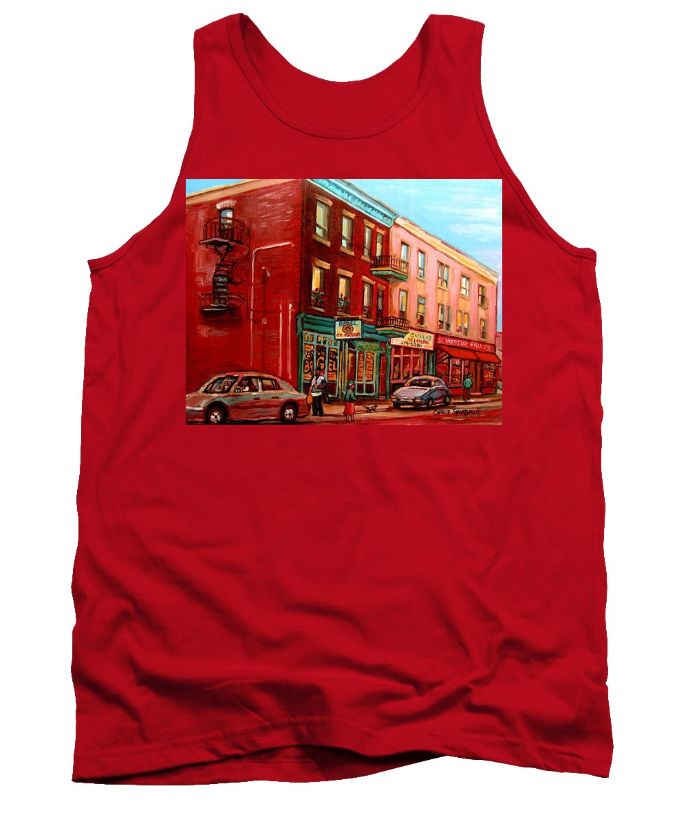 St Viateur Bagel Shop Montreal Street Scenes Tank Top featuring the painting Vintage Montreal by Carole Spandau
