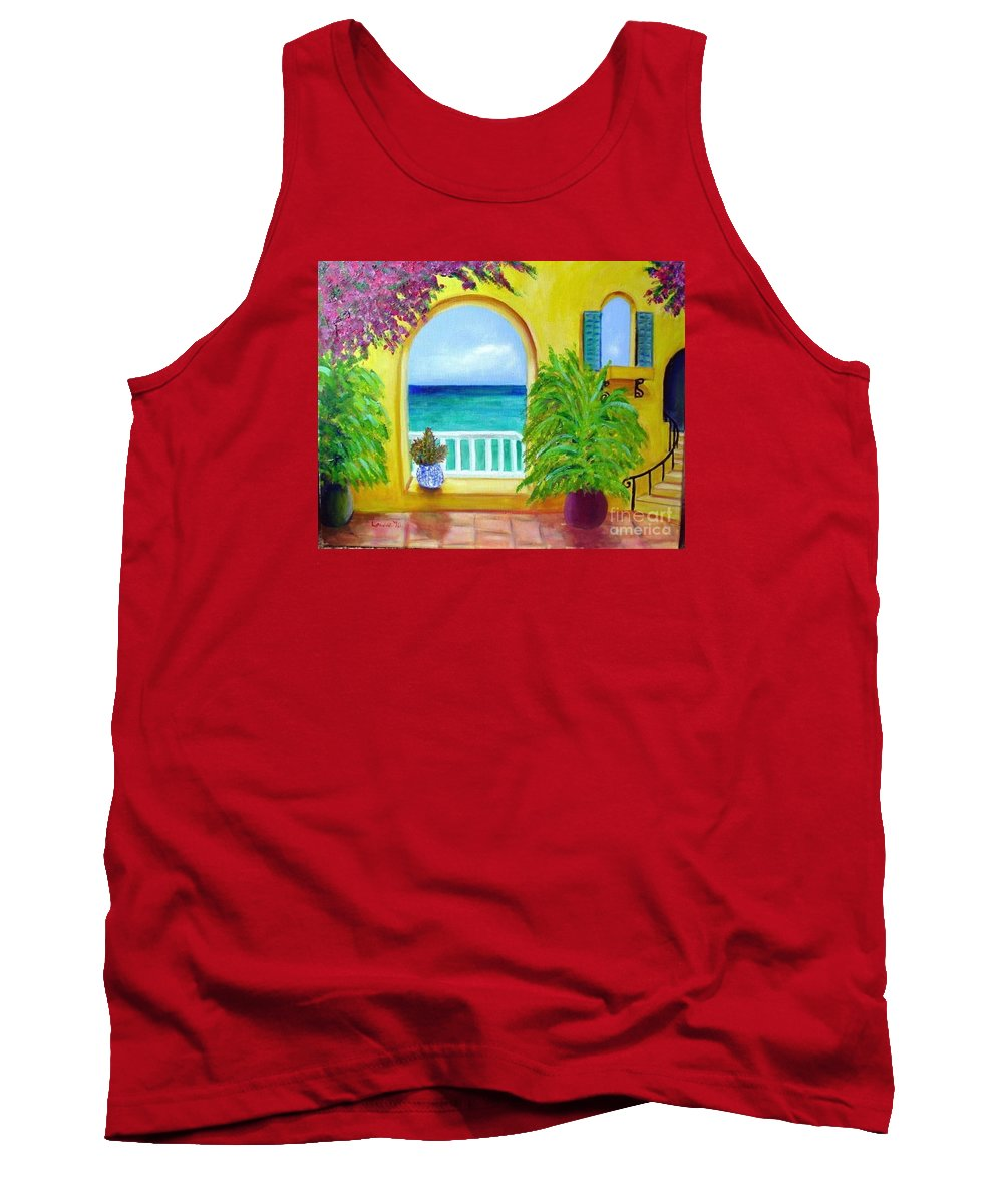 Patio Tank Top featuring the painting Vista Del Agua by Laurie Morgan