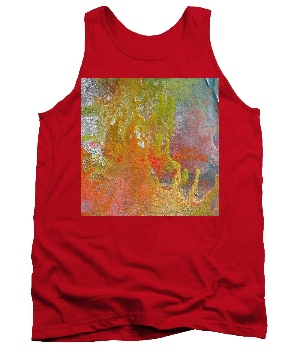 Abstract Encaustic Painting Tank Top featuring the painting W 052 by Dragica Micki Fortuna