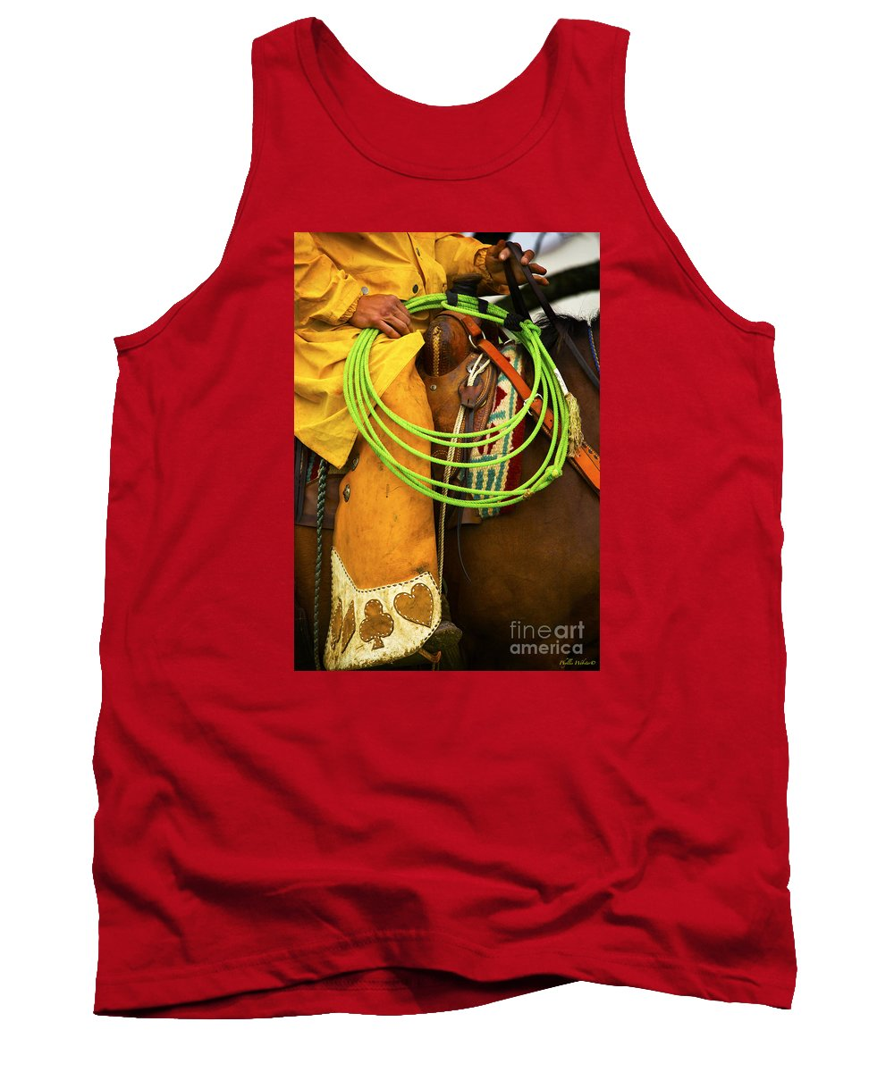 Western Tank Top featuring the photograph Waiting To Lasso by Phyllis Webster