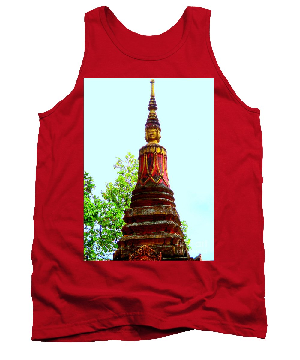 Cambodia Tank Top featuring the photograph Wat Krom 32 by Randall Weidner