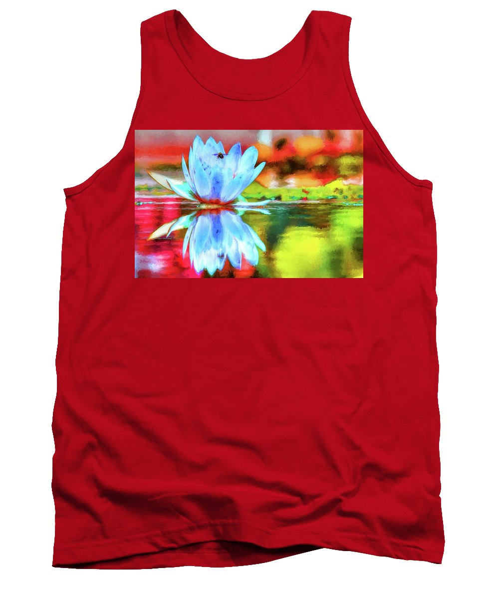 Carol R Montoya Tank Top featuring the photograph Water Lily And Bee Pastel by Carol Montoya