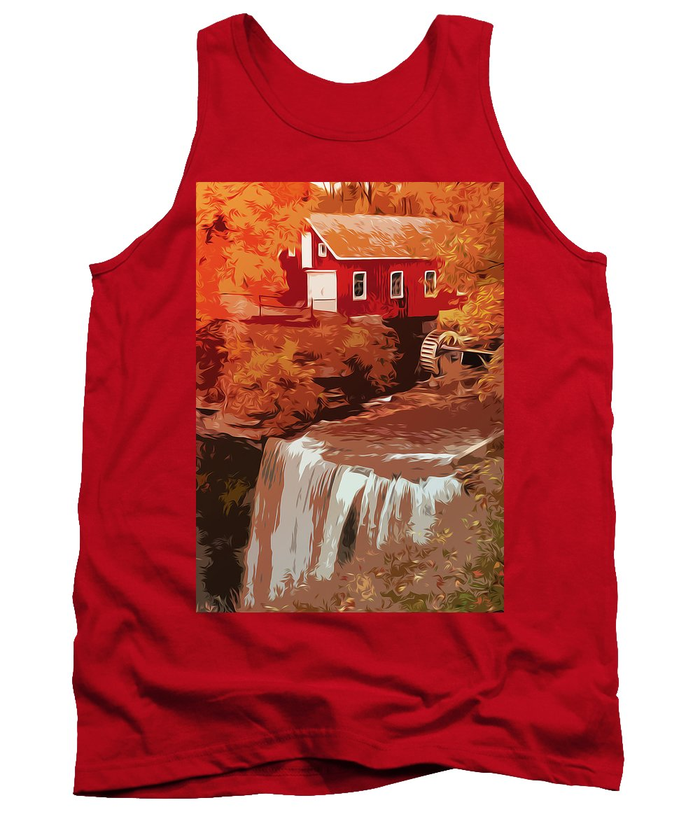Autumn Tank Top featuring the painting Watermill In Autumn by Andrea Mazzocchetti