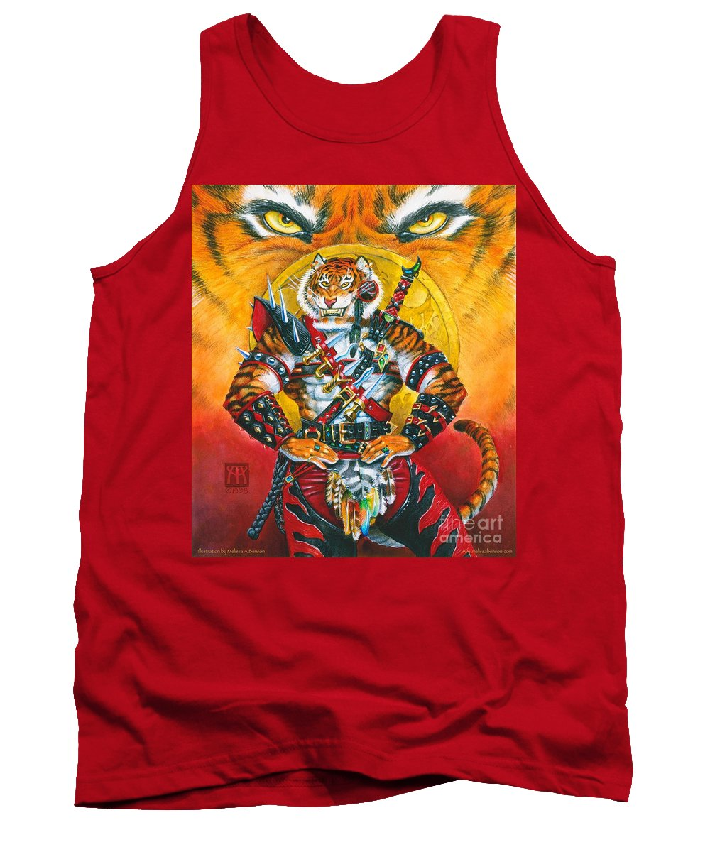 Fantasy Tank Top featuring the painting Werecat Warrior by Melissa A Benson