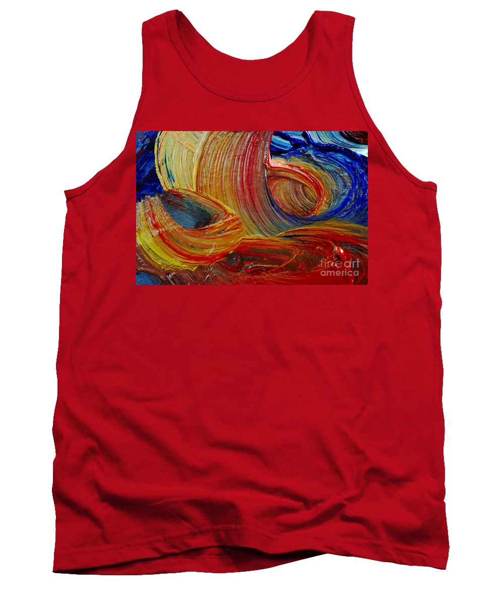 Stroke Tank Top featuring the painting Wet Paint - Run Colors by Michal Boubin