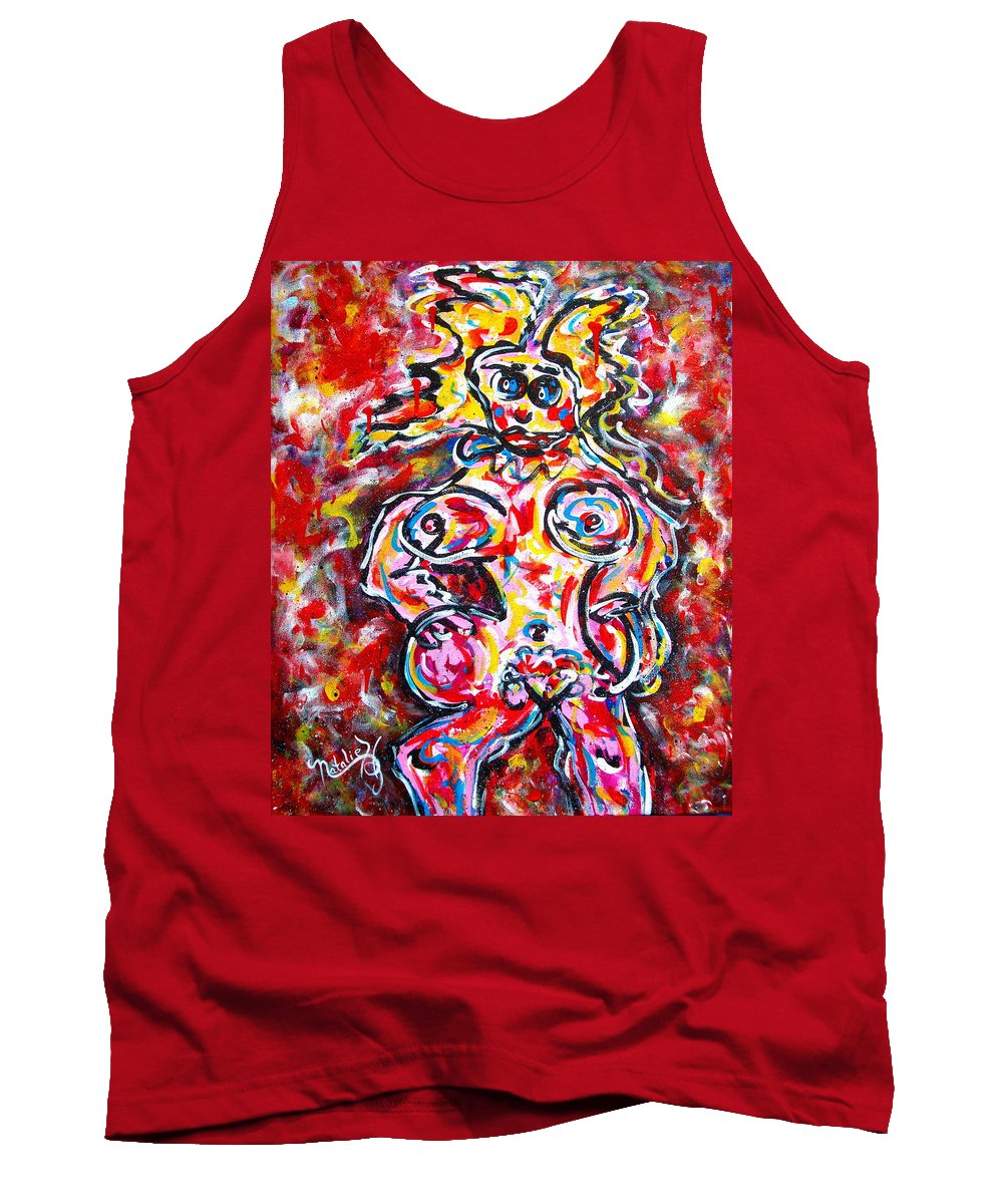 Abstracts Tank Top featuring the painting What Are You Looking At by Natalie Holland
