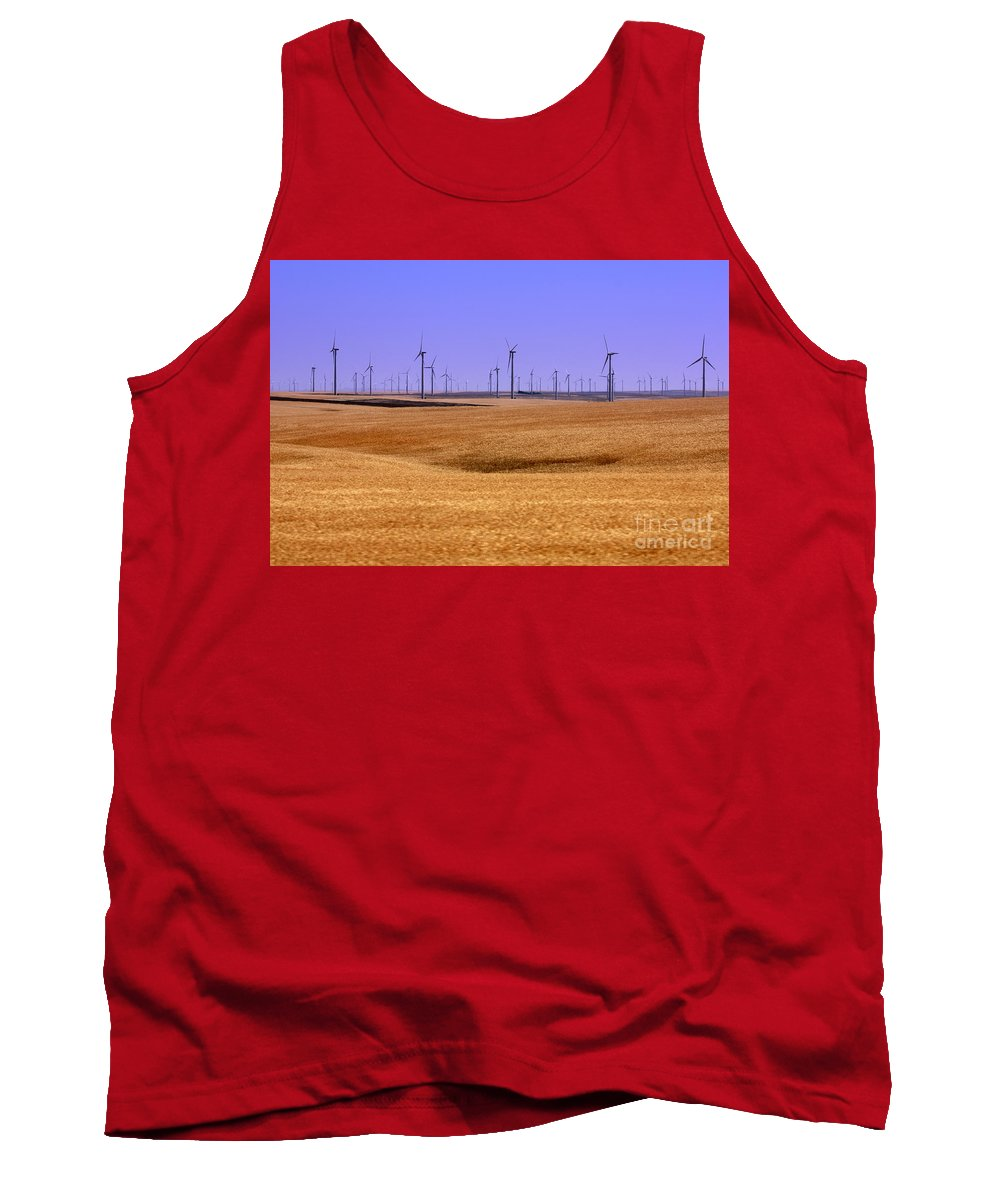 Wind Turbines Tank Top featuring the photograph Wheat Fields And Wind Turbines by Carol Groenen