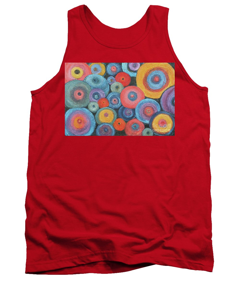 Texture Tank Top featuring the painting Who's Got The Button? by Barbara Nolan