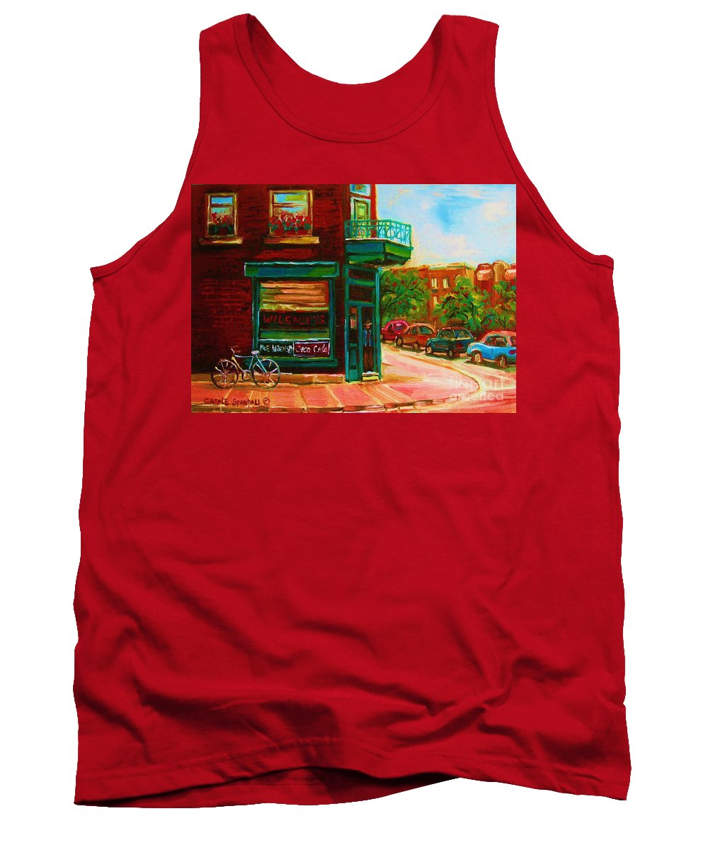 Wilenskys Tank Top featuring the painting Wilenskys With Red Geraniums by Carole Spandau