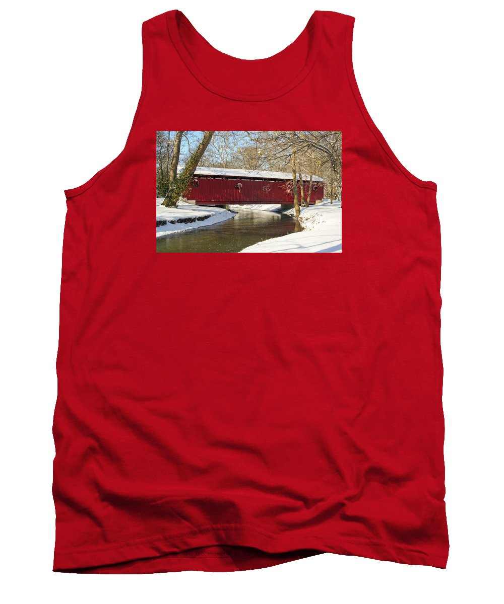 Covered Bridge Tank Top featuring the photograph Winter Bridge by Margie Wildblood