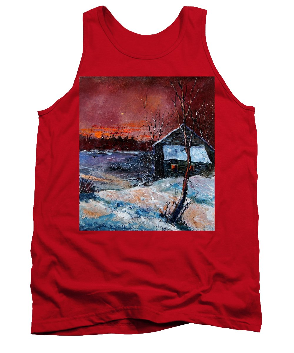 Winter Tank Top featuring the painting Winter Sunset by Pol Ledent